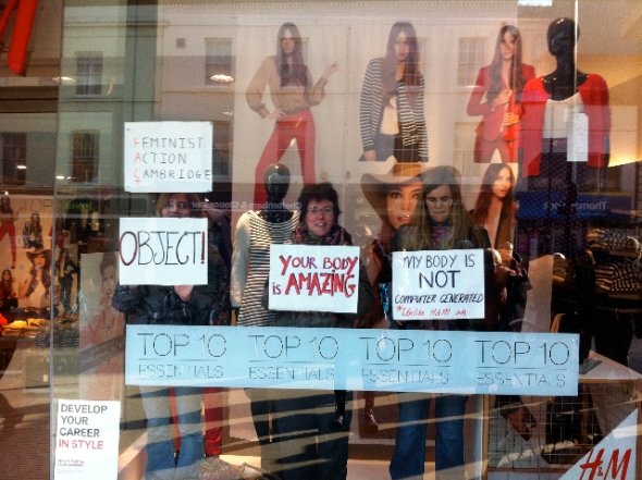 Activists at Debenhams protesting against images super-thin photoshopped women