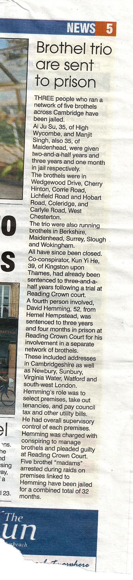 Newspaper clipping with headline 'Brothel trio are sent to prison'