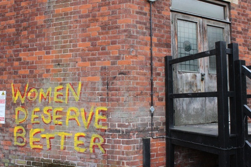 Graffiti on Cambridge Union Society building saying 'Women Deserve Better'