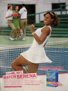 Tampon advert showing Serena Williams on a tennis court punching the air in triumph, while in the background 2 stewards drag away a woman labelled 'Mother Nature'. The slogan says 'Game, Set and Match Serena'