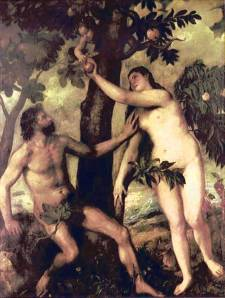 1550 Titian painting of Adam and Eve naked in the Garden of Eden