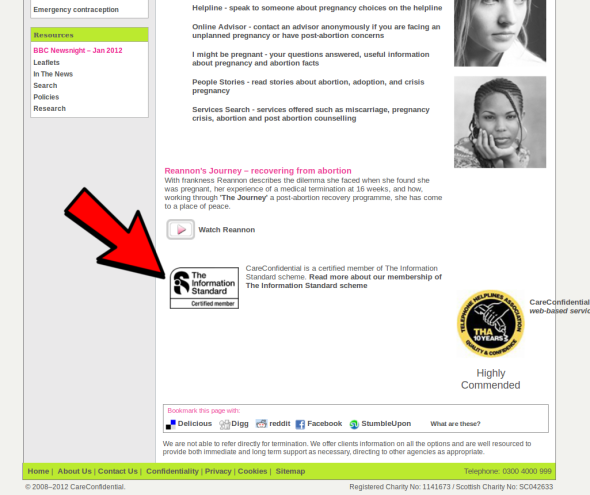 A screenshot of the website careconfidential.com showing the Information Standard mark.